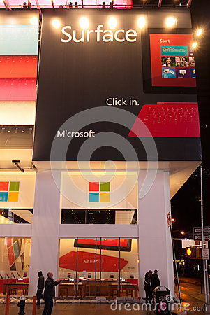 Hurricane Sandy at Times Square - Microsoft Store Editorial Stock Photo