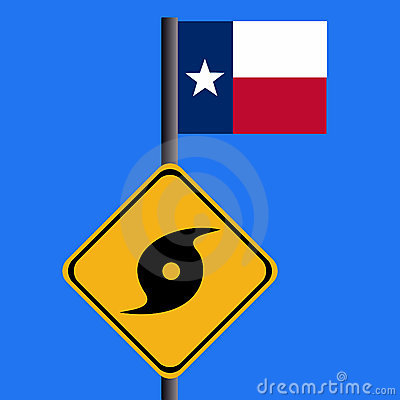 Hurricane sign with Texan flag