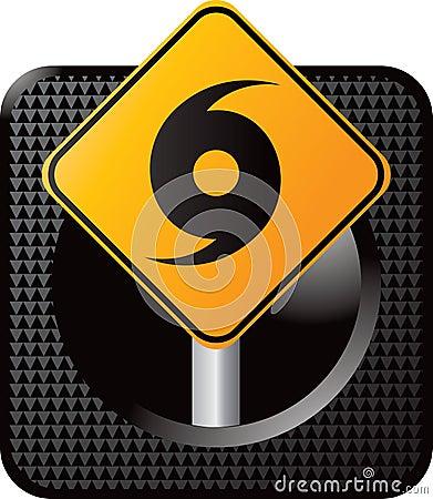 Hurricane warning sign on web icon