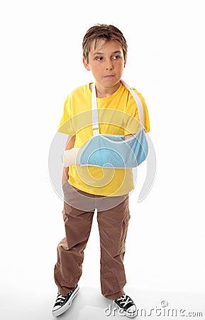 Hurt boy in arm sling