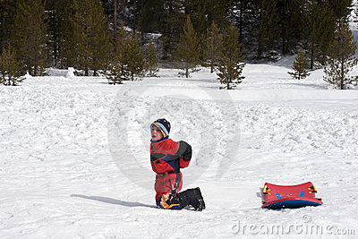 Hurt boy sledding