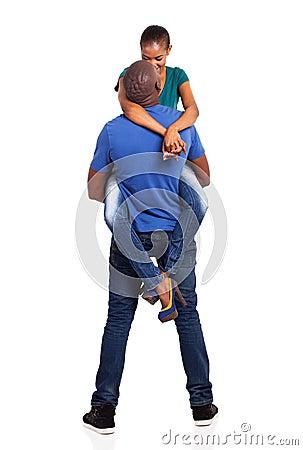Husband lifting wife