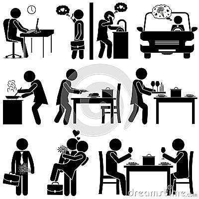 Husband & Wife / Boyfriend & Girlfriend in Love. Stick Figure Vector Illustration