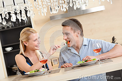 Husband and wife have romantic dinner