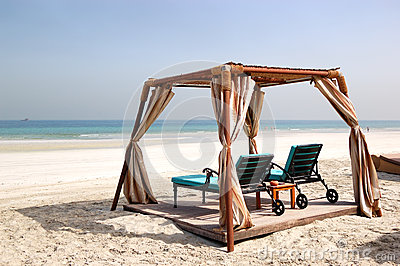 Hut on the beach of luxury hotel