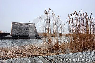 Hut in Frozen Lake