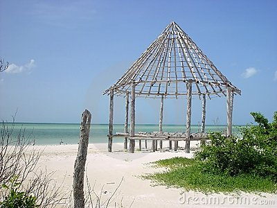 Hut palapa construction wood structure Holbox
