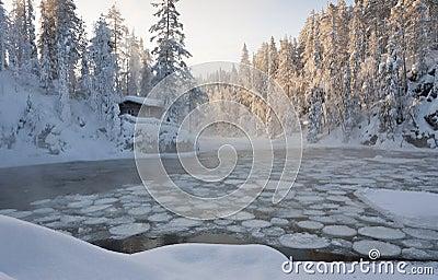 A hut beside a pond