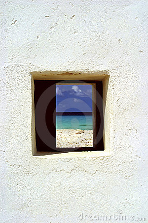 Hut window and ocean, Bonaire