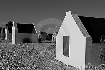 Huts in Black and White