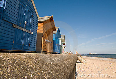Huts and pier