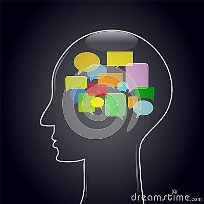 Huvud med tankebubblor