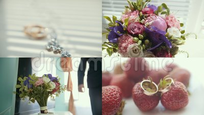 4 in 1: huwelijksconcept - een mens loopt en neemt over een bruids boeket, gouden ringen stock footage