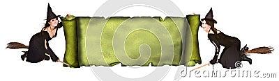 Häxa för stil för scroll för banerflickagrunge gammal