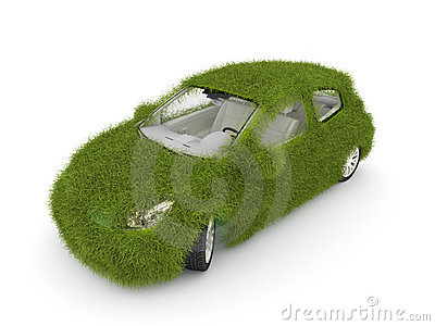 Hybrid auto. Ecology car. Green grass car