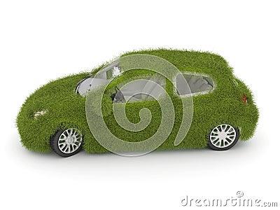Hybrid auto. Ecology car. Green grass car