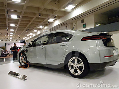 Hybrid car the Chevy Volt on display on platform Editorial Stock Image