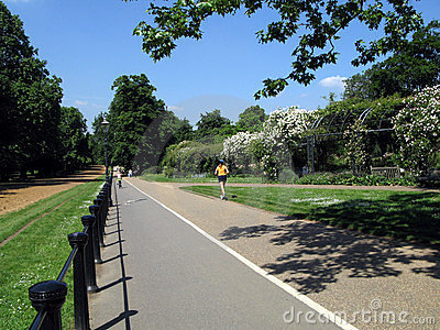 Hyde Park bicycle and jogging path Editorial Stock Photo