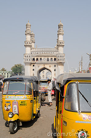 Auto Taxis at Hyderabad s Charminar Editorial Photo