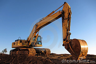 Hydraulic Crawler Excavator at Construction Site