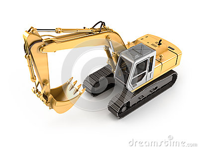 Hydraulic Excavator. High angle view