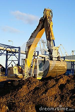 Hydraulic excavator at work.