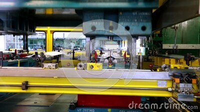 Stamping line on car factory stock video