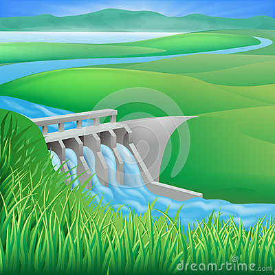 Hydro dam water power energy illustration