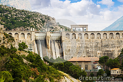 Hydro-electric power station on  river