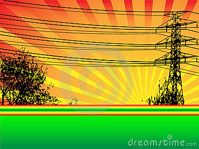 Hydro Tower and Trees Vector Scene