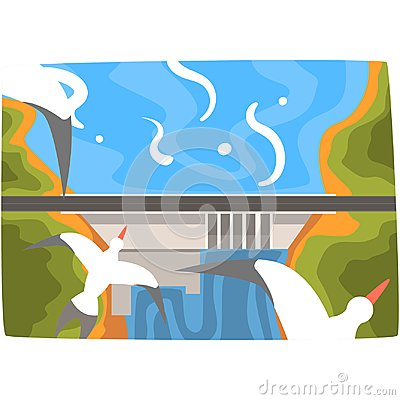 Free Hydroelectric Power Station, Hydro Energy Industrial Concept, Renewable Resources Horizontal Vector Illustration Stock Photo - 108746500