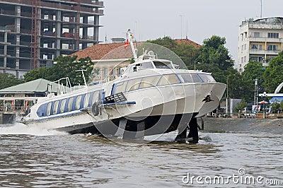 Hydrofoil boat on Saigon River in Ho Chi Minh City, Vietnam.