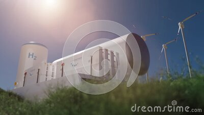 Hydrogen renewable energy production - hydrogen gas for clean electricity solar and windturbine facility. 3d rendering stock video footage
