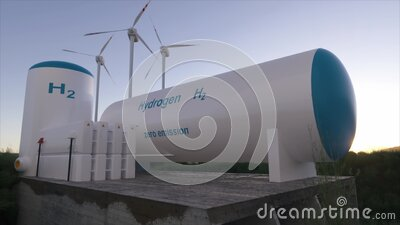 Hydrogen renewable energy production - hydrogen gas for clean electricity solar and windturbine facility. 3d rendering stock footage