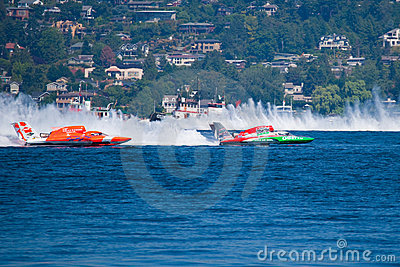 Hydroplane race at Chevrolet Cup Seattle Seafair Editorial Stock Image