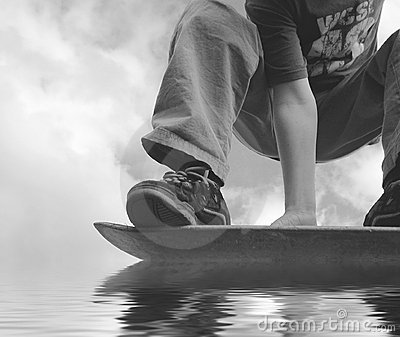 Hydroplaning Skateboarder Royalty Free Stock Images - Image: 490949