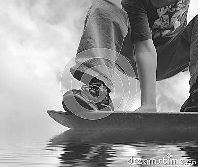 Hydroplaning skateboarder