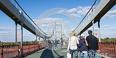 Hyperlapse of walking crowd on the bridge stock footage