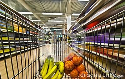 Hypermarket motion blur fruits