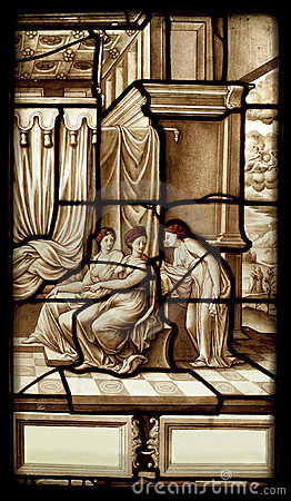 Hystory of psyche stained glass window