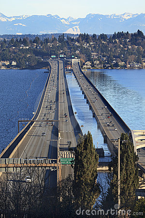 I-90 Bridge Bellevue Snowy Cascade Mountains