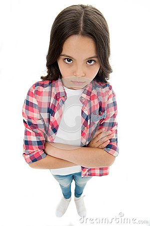 Free I Am Not Talking To You. Girl Serious Face Offended White Background. Kid Unhappy Looks Strictly. Girl Folded Arms On Royalty Free Stock Photography - 120241417