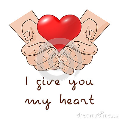 Free I Give You My Heart. Heart In Hand Of Romantic Gift Concept For Valentines Day. Stock Images - 82391354