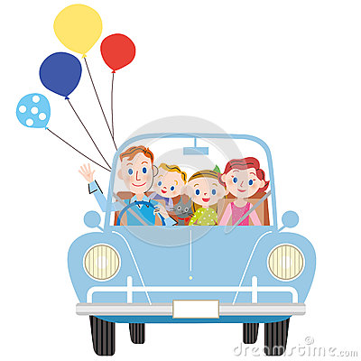 I go for a drive in parent and child Vector Illustration