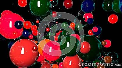 I grafici 3d di moto hanno avvolto l'animazione come fondo in 4k con le sfere semplici e la profondità di campo molti colorati mu video d archivio