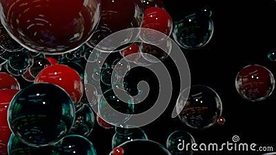 I grafici 3d di moto hanno avvolto l'animazione come fondo in 4k con le sfere semplici e la profondità di campo molti nero e ross video d archivio