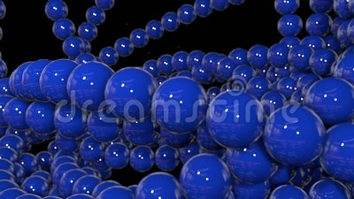 I grafici 3d di moto hanno avvolto l'animazione come fondo in 4k con le sfere semplici e la profondità di campo sciame blu di mol archivi video
