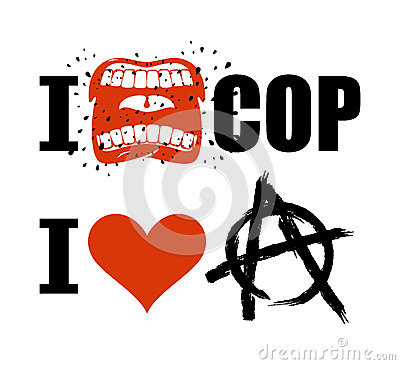 I hate cop. loud cry of sign of aggression and hatred for police Vector Illustration