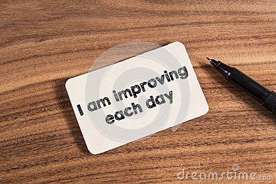 I am improving each day word Stock Photo