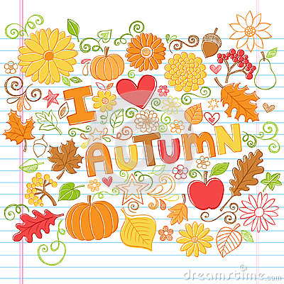 I Love Autumn Fall Leaves and Pumpkins Sketchy Doo